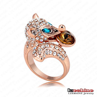Cluster Rings Fashion Rings 18K Rose Gold Plating Punk-Pop Smart Fox Engagement Rings With Austrian Crystals Punk Jewelry Ri-HQ0204