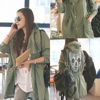 Cheap Free Shipping Womens Skull Hooded Cargo Coat Trench Casual Coat Army green 70