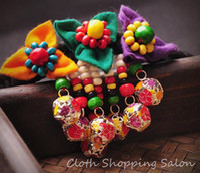 Charm Bracelets Bohemian Women's National Chinese Style Ethnic Handmade Pompom Embroidery Bracelet Cloth Fabric Charm Beads Warp Bracelet Wholesale Jewelry