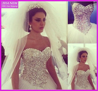 Wholesale 2014 New Design Princess Ball Gown Wedding Dresses Sweetheart Rhinestones Crystals Floor Length Tulle Long Bridal Gowns Custom Made