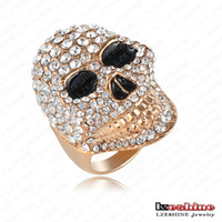 Cluster Rings Fashion Rings Hot Selling Punk-Pop Skull Shaped Engagement Rings With 18K Gold Plate & Czech Crystals Punk Jewelry Ri-HQ0175