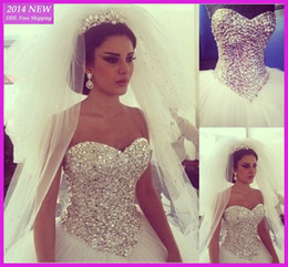 Wholesale 2014 Hot Sales Extravagant Real Image Princesse Robes de Mariage Sweetheart sans manches en strass Beaded Crystal Tulle robe de bal nuptiale Robes