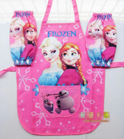 Wholesale Frozen Anna Elsa Set Waterproof Apron Painting Raglan sleeves Oversleeve New Arrival Child Fashion Cartoon Children Raglan Pink E0500