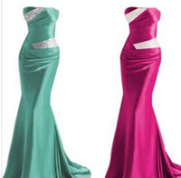 Wholesale Hot Sexy Strapless Beaded Silver Colorful Elastic Satin Mermaid Satin Bridesmaid Evening Prom Dress T4