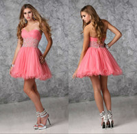 Reference Images acrylic fabric - Lovely Hot Selling New Watermelon Homecoming Dresses Sweetheart Ruche Acrylic A Line Tulle Fabric Corset Mini Sexy Short Dress Of Graduation