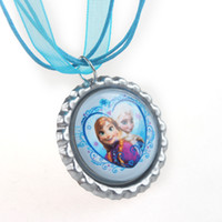 Wholesale New cm Hot Sale Bottle Cap Elsa amp Anna Frozen Necklace Ribbon Charms Necklace for Girls Y12