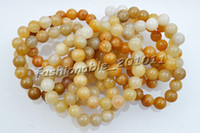 Wholesale 1 rows yellow Agate Stone Gemstone beads Stretch Tennis Wedding Chain Bracelets Promotion Gift br6