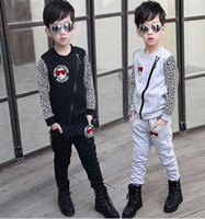 Boy Spring / Autumn Long 2014 Top grade quality baby boy Outfits Clothing Set Suits cool glasses leopard coat Top Trousers Kid Jacket + Pants