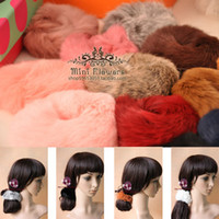 Wholesale Real Genuine Rabbit Fur Hair Band Hair Bobble Hair Accessories Fluffy Mixed Colors Boutique a