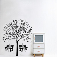 PVC park bench - Fashion New Home Decorative Mural Decal Art Vinyl Wall Sticker Park Tree Resting Bench Black Wallpaper J7022 multi
