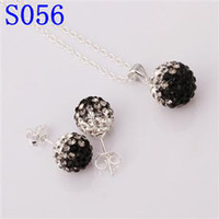 Earrings & Necklace Gold Plate/Fill South American Christmas sale Shamballa Jewelry Set Brand New Gradient CZ Disco Pave Crystal Ball Pendant Necklace+Stud Earrings+925 Silver Chain Mix Color
