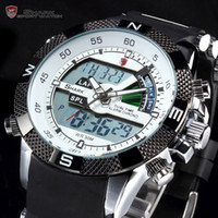 Wholesale Shark Quartz LCD Dual Time Date Day Alarm White Dial Military Silicon Band Outdoor Men Sports Military Watch SH041