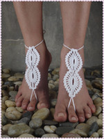 Wholesale Beach wedding White Crochet wedding Barefoot Sandals Nude shoes Foot jewelry Bridal Victorian Lace Sexy Yoga Anklet Flip Flops