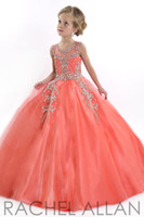 Wholesale kids dress and flower girls dresses Perfect Angel ball gown with soft tulle bottom Heavily beaded bodice silver stones girls pageant Gowns