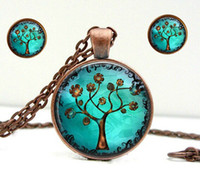Wholesale Antique glass gibbous copper bronze tree tree necklace Pendant and earrings girl charm Art The Pendant Copper jewelry Two piece