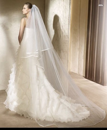 Wholesale 2T Meters Ivory White Wedding Veil Short Bridal Veils SATIN Edge Bridal Head Pieces Cathedral Bridal Mantilla Comb