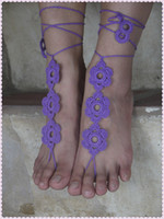 Wholesale Crochet Steampunk - Crochet Barefoot Sandals, Wedding shoes Anklet Barefoot Sandles, Foot jewelry, Steampunk, Victorian Lace