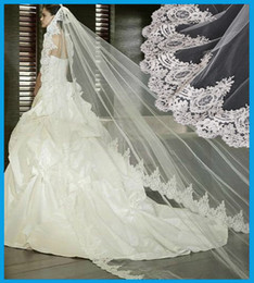 Wholesale In Stock Elegant Ivory White Bridal Veils meters Long aesthetic Lace bridal veil wedding accessories
