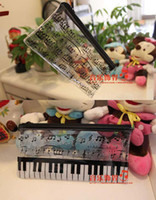 Plastic   Fashion Music Piano symbol transparent storage bag cosmetic bags pencil case stationery pen bags good gift for children