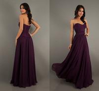 A-Line purple wedding dress - Sweetheart Strapless Empire Chiffon Purple Bridesmaid Dresses Wedding Guest Dresses Long A Line Ruched Chiffon Zipper New Evening Prom Gowns