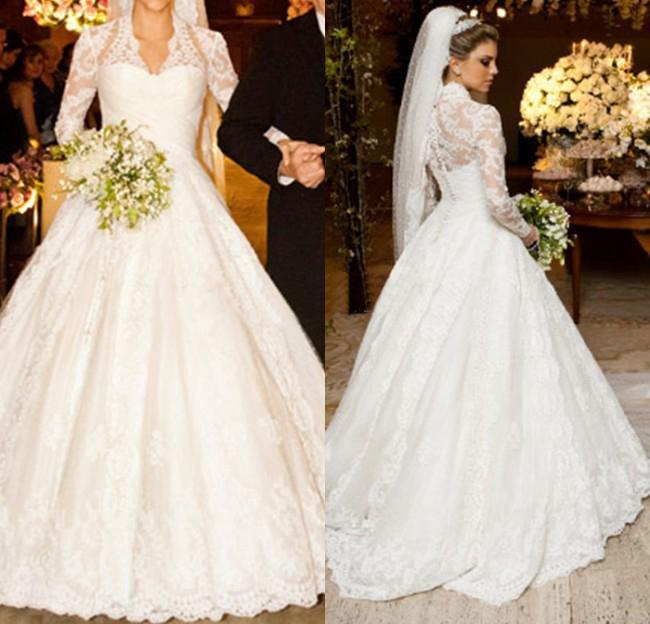 2014 Latest Design Royal Lace Wedding Dresses Long Sleeve V-Neck ...