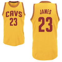 Wholesale Basketball Jersey Lebron James Cavaliers Yellow Basketball Wears Cleveland Top Players Jersey Hot Sale Authentic Athletic Apparels