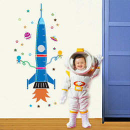 Wholesale Fashion New Home Decor Mural Vinyl Wall Sticker Future Star Rocket Height Chart Kids Nursery Room Wall Art Decal Paper AY9028