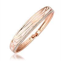Bangle Mexican Women's High Quality Noble 18K Rose Gold Plated Shinning Swarovski Crystal White Pattern Buckle Bangle Bracelets Fashion Costume Jewelry Z035