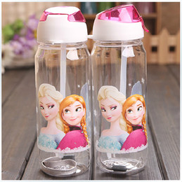 Wholesale Big discount Children Cup Cartoon Frozen Elsa Anna PP Texture Suction Cup with drinking straw water bottle gmy