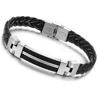Wholesale Wide Mens weave Chain Bracelets amp Bangles Men cm Jewely Stainless Steel Men Leather Bracelet