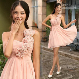 2014 Free shipping New arrival Pink chiffon One Shoulder Sweetheart A-line Short Mini Above knee flowers Bridesmaid Dresses Homecoming Dress