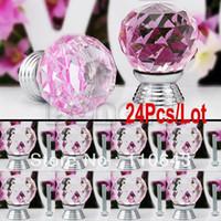 Ceramic Furniture Handle & Knob  new 24pcs Lot Wholesale 30mm Kitchen Pull Handle Cupboard Knob Glass Crystal Cabinet Drawer Knob Door Wardrobe Hardware Pink TK0739