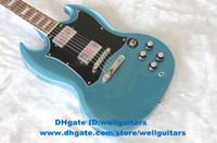 Solid Body 6 Strings Mahogany SG Metal Blue Jade Tuning Machines Closed H-H 2 Pickups Chromeplate Hardware Rosewood Fingerboard Mahogany Body Electric Guitar No.0042-45