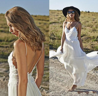 A-Line Reference Images Spaghetti 2015 Boho White Chiffon Beach Wedding Dresses Spaghetti Straps Lace Appliqued Backless A-Line Floor-Length Long Bridal Gowns D1153