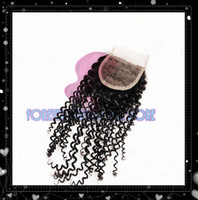 Malaysian Hair Natural Color kinky curl Free Shipping middle part closures 3.5x4 cheap malaysian virgin hair kinky curly swiss lace closure bleached knots with 2 part