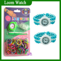 Wholesale Cheapest Rainbow loom Watch DIY Knitting Braided Rubber Loom Bands Self made Silicone Bracelet bands clips hooks watch