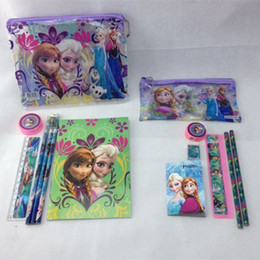 Wholesale Christmas Frozen Pencil Cases Children Kids learning Stationery set for students Pencil Bag Pencils Ruler Eraser notebook Xmas gift
