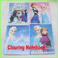 Wholesale Frozen Anna Elsa DIY Colouring Notebook And Sticker Baby Coloring book Kids Holiday Gift Children Puzzle Painting GZ GD5