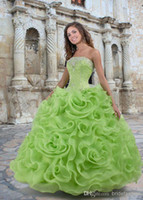 Wholesale New Arrive Spring Green organza blue Ball Gown embroidered Quinceanera Dresses Strapless Ruffles skirt and Corset Girls Pageant Dresses
