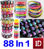 Wholesale On Sale In One Direction Combined silicone bracelets wood wristbands Rubber Stainless Steel BAND Jewelry