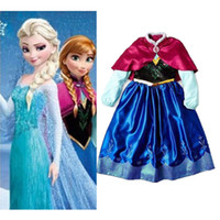 Wholesale Details about Frozen Queen Elsa Princess Costume Cosplay Anna Queen Party Girl s Kids Dress DH