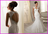 Wholesale Hot Sales Elegant Mermaid Wedding Dresses Hollow Back Cap Sleeve Beaded Crystal Sequined Jewel Court Train Lace Bridal Gowns