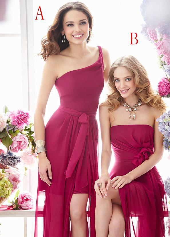 Buy 2015 Kelsey Rose Fuchsine B Two Style High Low Split Side Bridesmaid Dresses Cheap Pleated Sash Handmade Bow Floor-Length Backless
