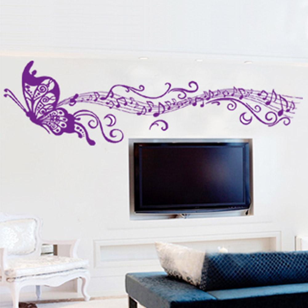butterfly wall art decor how to make butterfly wall art lalang butterfly romantic musical notes purple diy wall sticke stickers wallpaper art decor mural decal home decoration living rooms sticker h11523