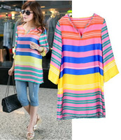 Women V-Neck Regular Spring 2014 women Rainbow Causal Dress with Sleeves Holiday Home Striped Big Size 5XL European Fashion romantic Tunics Clothing