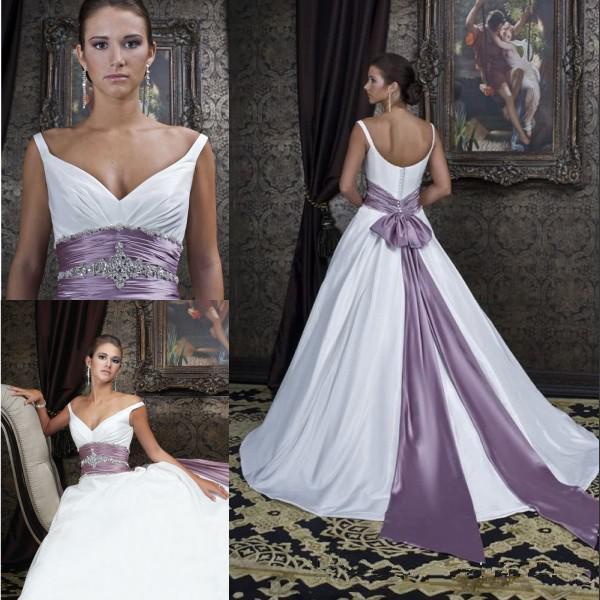 Discount 2014 Fashion Satin Off Shoulder V Neck Bridal Dress Crystal Beaded Bow Sash Purple And
