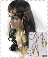 Las mujeres Chica de cuero trenzado pluma de cabello cabeza de cuerda hecho a mano de estilo Bohemia estilo collar de cinturón de playa banda de cinturón Tie Wrap