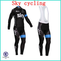 Wholesale Pro team cycling jersey Sky cycling bib jersey long sleeve cycling jerseys high quality high elasticity bicycle clothing