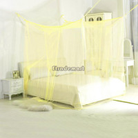 Plush Fabric Cotton Column 4 Post Bed Canopy Four Corner Point Bug Insect Mosquito Net Fly Netting Mesh Beds Canopy Bed Curtain Dreamma #005 OS00045