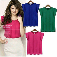 Wholesale 1PC New Fashion Plus Size Womens Chiffon Flouncing Short Sleeve Shirt Blouse Tops Colors CW14001